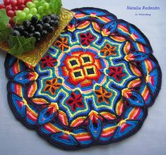 Fiesta Mat by Podarok on Ravelry, using Melody MacDuffee's Overlay Crochet Mandala Pillow Covering pattern from Crochet Master Class Crochet Circles, Crochet Motifs, Crochet Art, Tapestry Crochet, Crochet Squares, Crochet Crafts, Crochet Doilies, Crochet Flowers, Crochet Stitches