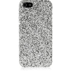 Saint Laurent Glitter-finished iPhone 5 case (€120) ❤ liked on Polyvore featuring accessories, tech accessories, fillers, phone cases, frames & background, glitter, iphone, silver and yves saint laurent
