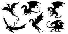 Illustration of dragon silhouettes on the white background vector art, clipart and stock vectors. Stencil Templates, Stencil Patterns, Art Template, Silouette Art, Game Of Thrones Dragons, Silhouette Tattoos, Dragon Images, Halloween Silhouettes, Dragon Art
