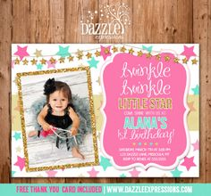 Printable Pink and Gold Glitter Twinkle Little Star Birthday Photo Invitation | Pink, Gold Glitter, Mint, Turquoise | Printable | Girl First Birthday Party Idea | DIY | FREE thank you card included | www.dazzleexpressions.com
