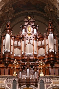 Berlin Cathedral, Germany. One of the most interesting items in the cathedral is the reconstructed pipe organ, built by the Wilhelm Sauer manufactory. The organ, originally constructed in 1905, has more than 7,000 pipes.
