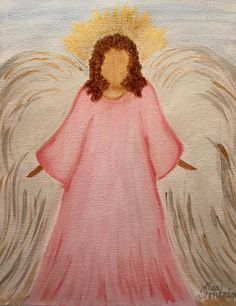 Acrylic Painting on Canvas by Lisa Fontaine.  Angel.