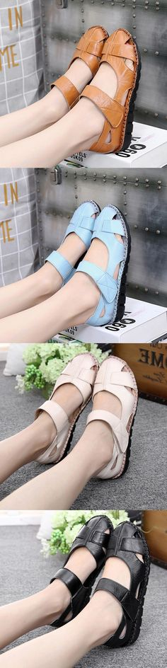 US$25.20  Hook Loop Leather Flat Shoes_Summer Style Shoes_Soft Women Shoes Flats_Women Sandals Outfits