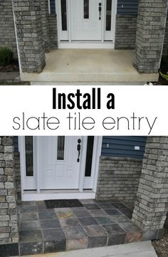If we have to buy extra slate tile. How to Install a Slate Tile Entry. Easy way to add curb appeal! Home Remodeling, Home Renovation, Bathroom Renovations, Future House, My House, Entry Tile, Do It Yourself Inspiration, Do It Yourself Furniture, Ideias Diy