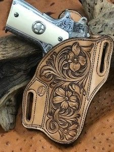 Bodyguard holster floral carved natural leather w/Sheridan antique Leather Keyring, Leather Holster, Leather Tooling, Tooled Leather, Leather Wallet, 1911 Holster, Gun Holster, Leather Knife Sheath Pattern, Leather Working Patterns