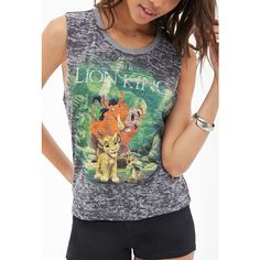 Forever21 Lion King Burnout Tank (180 MXN) ❤ liked on Polyvore featuring tops, shirts, disney, cut off tank top, lions shirt, lion tank top, forever 21 tank and forever 21