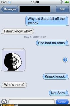 I laugh every time I think about this.  Poor Sara.