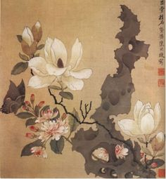 That above and albumn print of Chen Hong Shou's painting of flowers. This is a much later Qing Dynasty or later republican repro of the same work. JTLYK It was not uncommon to copy masterworks nor was it considered plaigiarism. It was considered a totes valid way to learn their technique. Considering it would have been a courtly print-cause aparently royals back in the day like to stare at flowers, bugs, and bi