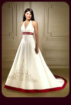Vestidos de novia sencillos color rojo