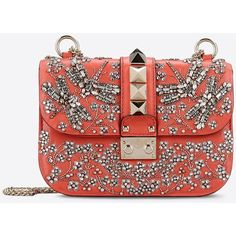 Valentino Garavani Small Chain Cross Body Bag (256420 RSD) ❤ liked on Polyvore featuring bags, handbags, shoulder bags, coral, crossbody handbag, chain strap shoulder bag, red handbags, studded shoulder bag and chain strap crossbody