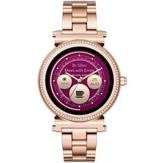 Michael Kors Sofie 42Mm Bracelet Access Smart Watch ($460) ❤ liked on Polyvore featuring jewelry, watches, rose gold, round watches, dial watches, drusy jewelry, leather-strap watches and michael kors