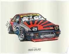 ozizo art 0003 Art Print by mame_ozizo Weird Cars, Cool Cars, Crazy Cars, Jdm Wallpaper, Automotive Logo, Drifting Cars, Car Posters, Japan Cars, Cars