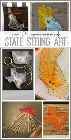 round up of great ideas to buy or make your own state string art