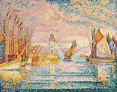 Lighthouse at Groix  Paul Signac  (French, Paris 1863–1935 Paris)     more colors and boats and water