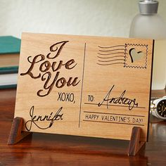 "This is BEAUTIFUL! It's a Romantic Wood Postcard that you can have engraved with your names and any message - great wedding gift or Valentine's day gift idea ... or great 5th Anniversary Gift idea because ""Wood"" is the traditional 5th anniversary gift!"