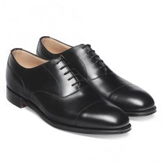 Cheaney Harrington Capped Oxford in Black Calf Leather | Leather Sole