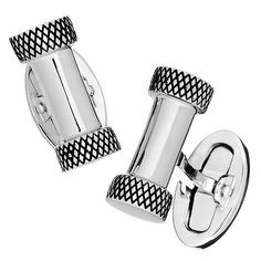 Silver Bar Cufflinks with Antique Criss-Cross Ends | Modern Classics | Jan Leslie Cuff Links and Accessories