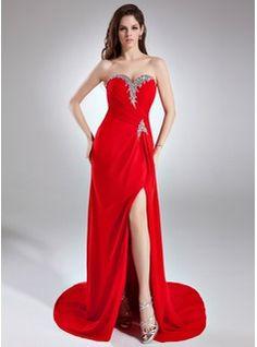 Sheath Sweetheart Court Train Chiffon Prom Dress With Ruffle Beading Sequins