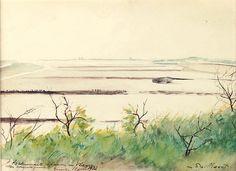 Léon Spilliaert (Belgian, 1881-1946), Landscape, 1933. Watercolour on paper, 24 x 33 cm.viaamare-habeo