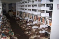 Damage to Biloxi Public Library after Hurricane Katrina, August 2005. The poor books!