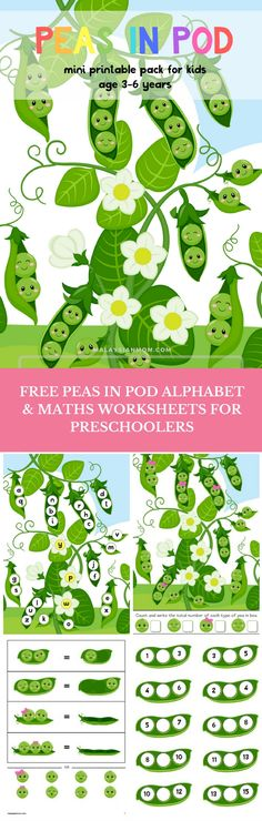 Peas in a pod | Free Worksheets for Preschool + Kindergarten | Alphabet | Letters | Number | ABC | more free printables @LewSC Malaysian Mom | Resources for Kids + Moms