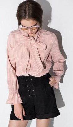 HDY Haoduoyi Womens Chiffon Bow Pleated Single-breasted Blouse Shirts Casual Flare Sleeve Overalls Tops Tees