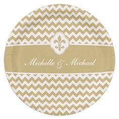 Personalized Gold White Fleur de Lis Chevron Paper Plates #fleurdelis #gold #wedding #engagement #neworleans