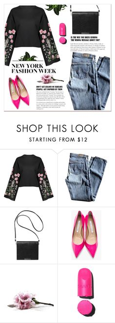 """""""What to wear to NYFW"""" by ladydzsen ❤ liked on Polyvore featuring AG Adriano Goldschmied, Monki, Diane Von Furstenberg, NYFW and NewYorkCity"""