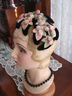 Ladies Vintage Hat 60's Sweet Pink and Green Velvet Grapes on Black Headband