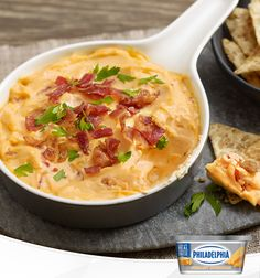 BACON! Now that we've got your attention, let's talk about this dip, featuring new Philly Creamy Cheddar. This four ingredient easy recipe is so delicious, double-dipping is sure to occur. It's quick too, taking just 10 minutes to prep! With some time in the oven, it comes out warmly baked and ready to serve and savour.