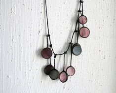 Soft purple circle necklace - stained glass and patinated cooper - unique jewelry via Etsy