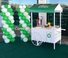 Carro de madera para galletas, zumos y fruta en E.S. BP (Madrid)