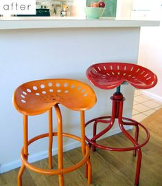 Brightly Coloured, Eclectic Home Decor Ideas - Tractor Seat Bar Stools - Orange - Red