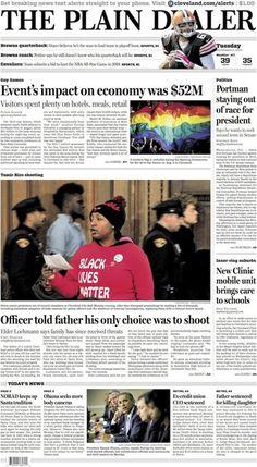 The Plain Dealer's front page for December 2, 2014