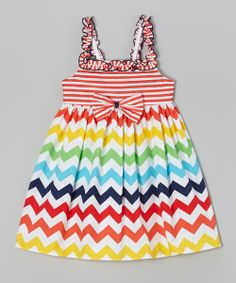 Take a look at the Good Lad Orange Zigzag Babydoll Dress - Girls on #zulily today!