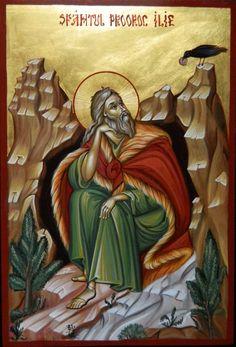 Prophet Elias by Elena Cerasela Ciuca Saint Barbara, Raven Art, Byzantine Icons, Religious Icons, Art Icon, Orthodox Icons, Bible Stories, Crow, Catholic