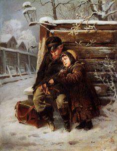 Константин Маковский. Маленькие шарманщики. 1868