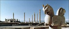 The magnificent ruins of Persepolis lie at the foot of Kouh-e Rahmat, or Mountain of Mercy, in the plain of Marv Dasht about 850 kilometers south of the present capital city of Tehran and about 50 kilometers north of Shiraz.