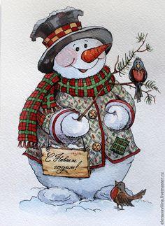 Новый год 2016 ручной работы. Ярмарка Мастеров - ручная работа. Elena Vavilina Новогодний снеговик. Handmade.  акварель
