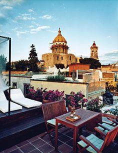 terrace at Dos Casas hotel San Miguel de Allende, Mexico