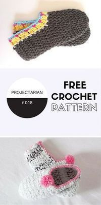 Free crochet pattern for adult slippers. Very quick and easy booties for wearing around the house. http://www.projectarian.com/2016/05/02/project-018-crochet-slippers-adults/