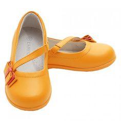 Tangerine Orange Bow Mary Jane Strap Shoes Toddler 5-Little Girls 2