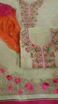 Nice love it Punjabi Salwar Suits, Designer Punjabi Suits, Patiala Suit, Shalwar Kameez, Embroidery Suits Design, Embroidery Designs, New Suit Design, Kamiz Design, Salwar Suit Neck Designs