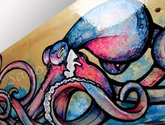 Custom Skateboard Art - Octopus Painting - Made to order commission piece - Fine Art Surf Art