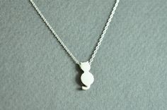 Cat pendant necklace in white gold Animal necklace by Sunrayjewel, $13.50