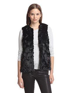 French Connection Women's Faux Fur Vest (Black)