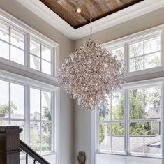 Sometimes words aren't enough, just scroll through this beauty. I promise you will not be disappointed! That stairway. The fireplace in the… Modern Farmhouse Lighting, Innovation Design, Stairways, Condo, Chandelier, House Design, Ceiling Lights, Disappointed, Farm House