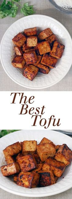 The best tofu recipe comes together with simple ingredients like soy sauce lemon juice and maple syrup Vegan glutenfree and the perfect crispy texture Best Tofu Recipes, Veggie Recipes, Asian Recipes, Whole Food Recipes, Cooking Recipes, Healthy Recipes, Simple Tofu Recipes, Tufu Recipes, Grilled Tofu Recipes
