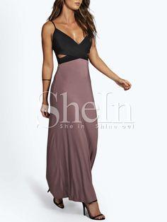 Black Spaghetti Strap Cut Out Color Block Maxi Dress -SheIn(Sheinside)