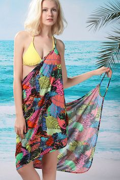 663f4cfce88d Leaves Print Beach Cover-up Swimsuit